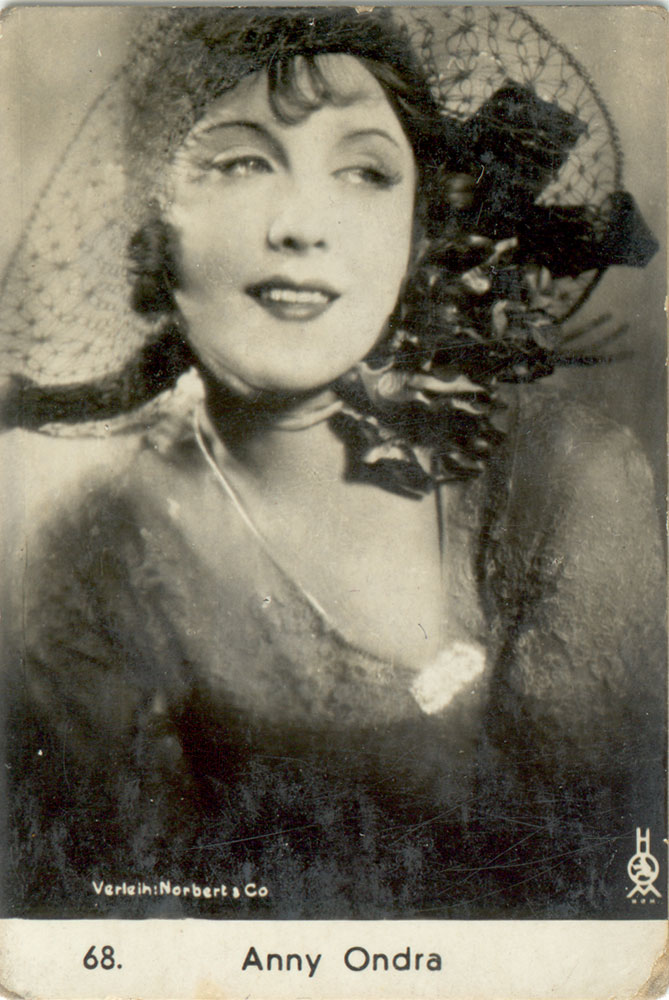 Silent film actress, Anny Ondra postcard by Balzar 1920s